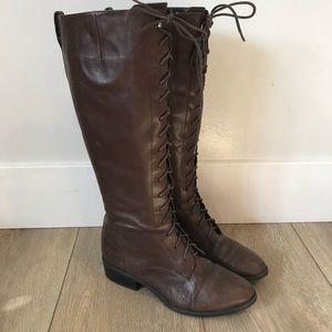 Ralph Lauren Martina Brown lace-up riding boots 9